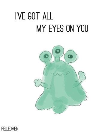 Valentinskarte Monster I've got all my eyes on you