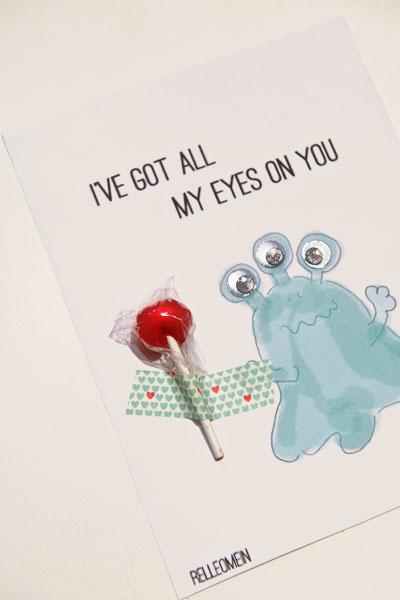 Valentinskarte Monster mit Lutscher und Masking Tape