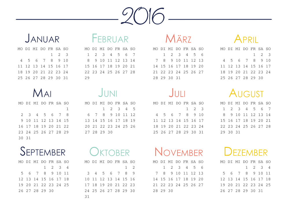 Filofax Einlagen 2016 – Jahresübersicht (Download)