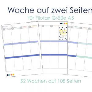 Woche auf zwei Seiten - Filofax Einlagen 2017 - A5 Download