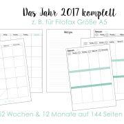 Kalendereinlagen 2017 - das komplette Jahr - Woche auf 2 Seiten und Monat auf zwei Seiten