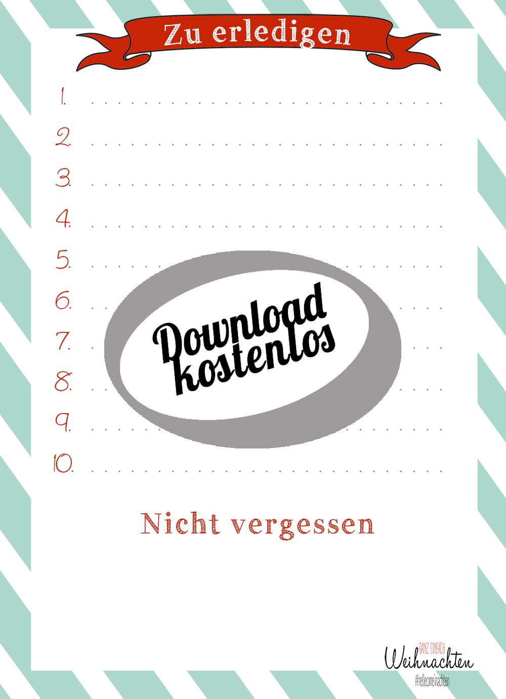 Todo Liste als kostenloser Download - Weihnachtsliste | relleomein.de
