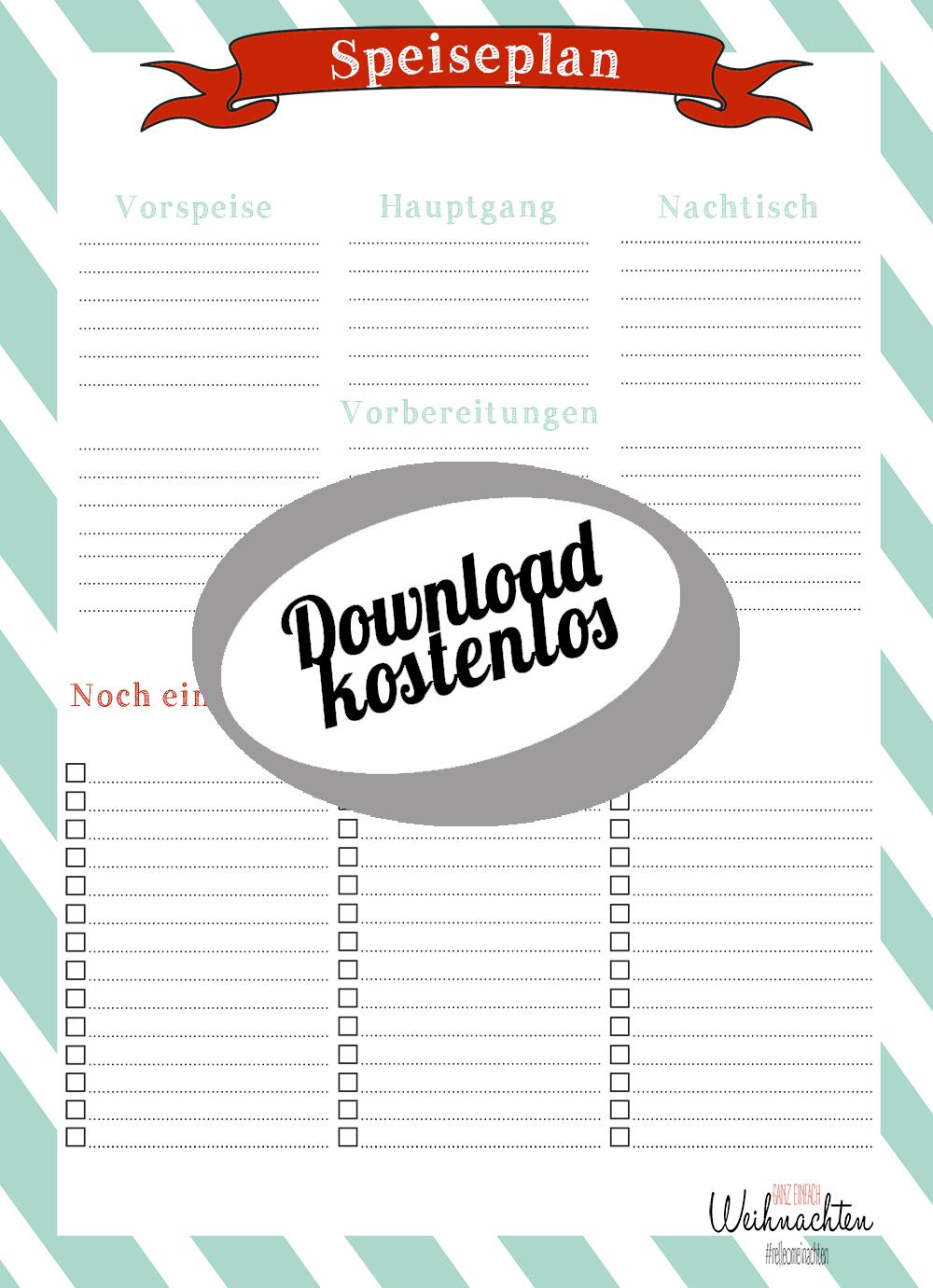 Kostenloser Download Weihnachtsspeiseplan Speiseplan | relleomein.de
